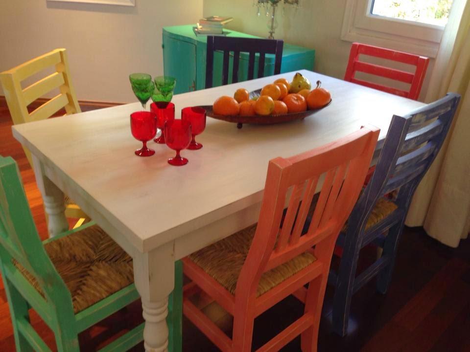 Vintouch muebles reciclados pintados a mano mesa - Mesas y sillas blancas ...