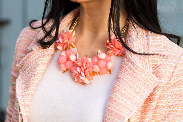 Statement Necklace style Fresh Spring Flowers in Coral color MOKKA