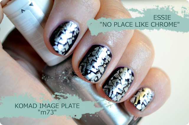 Nagellack essie NO PLACE LIKE CHROME & Catrice THE DARK KNIGHT Stamping