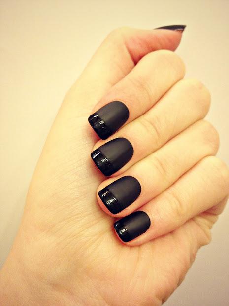 sybella nails black matte manicure