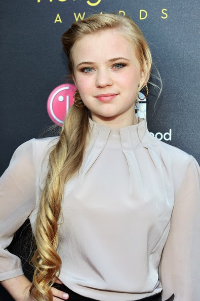14-year-old actress Sierra McCormick in a cute long-sleeved white chiffon top tucked into black fitted shorts, Stella and Dot earrings, cute black shoes and a side pony tail at 14th Annual Young Hollywood Awards presented by Bing at Hollywood Athletic Club on June 14, 2012 in Hollywood, California.
