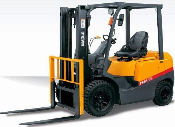 Tampilan TCM Forklift bermotif warna oranye