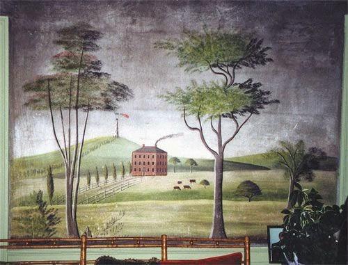 wallpaper mural of colonial mansion joy studio design
