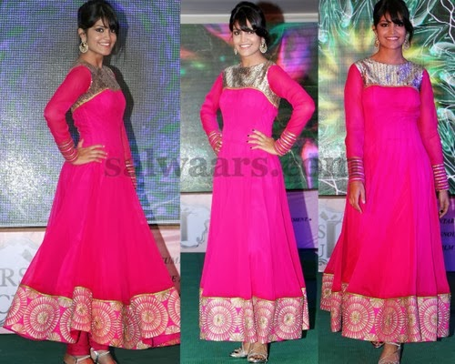 Model in Fuchsia Pink Georgette Churidar
