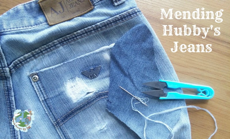 Fix It Friday - Mending Hubby's Jeans