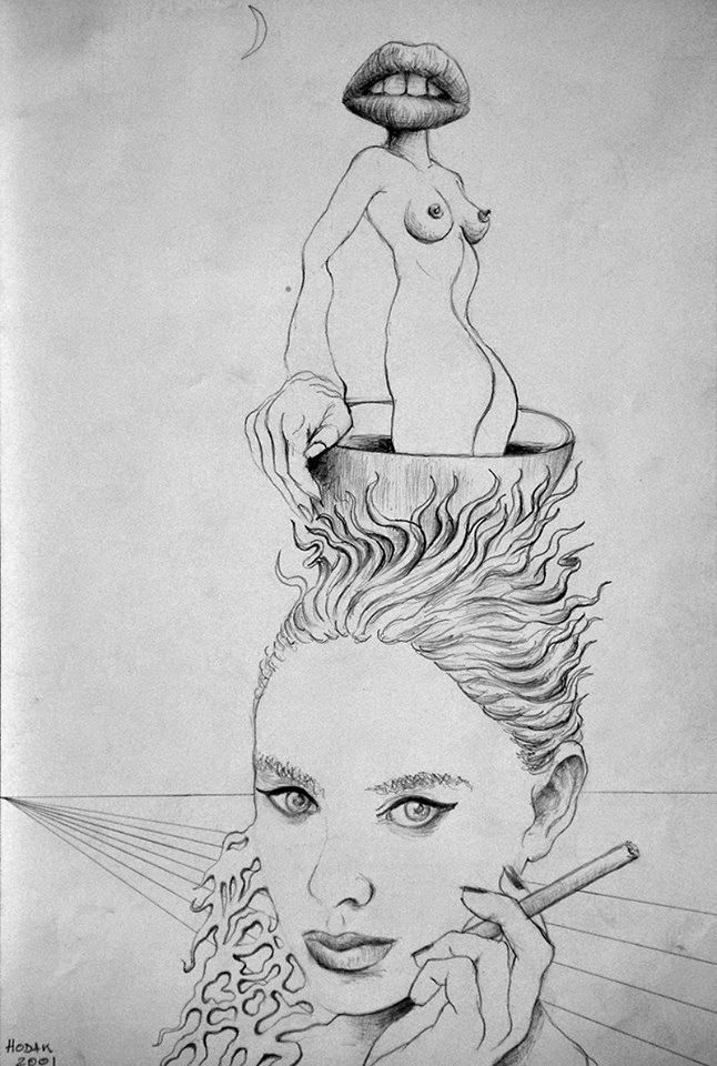Surrealist Coffee Break, graphic drawing on paper, 27x18 cm,