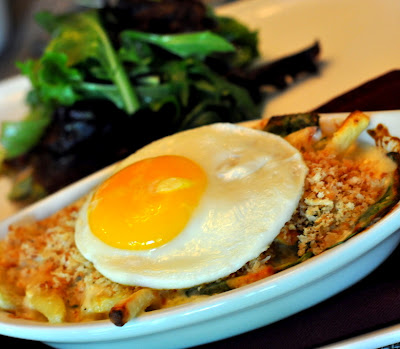 Homemade Macaroni Noodles with Spinach and Cheese topped with a Fried Egg at The Inn on First in Napa, CA - Photo by Taste As You Go