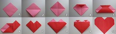 Tutorial de como fazer um coração de papel com origami