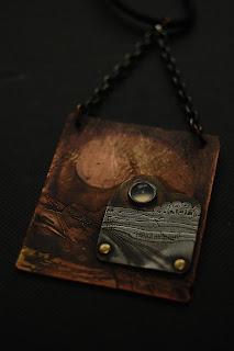 Liz Samways inkylinky copper silver etched chalcedony landscape pendant