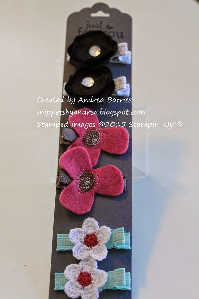 Decorative barrettes made with single-prong curl clips, ribbon and various embellishments.