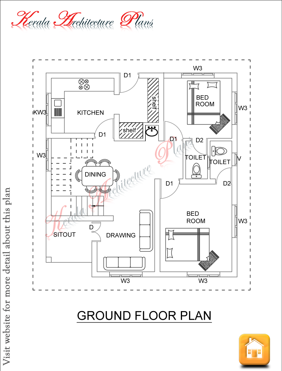 1600 square feet four bed room house plan architecture Ground floor 3 bedroom plans