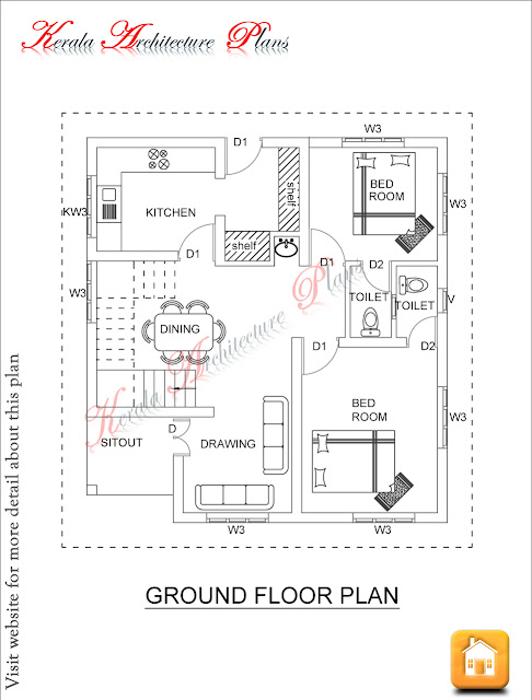 1600 Square Feet Four Bed Room House Plan Architecture