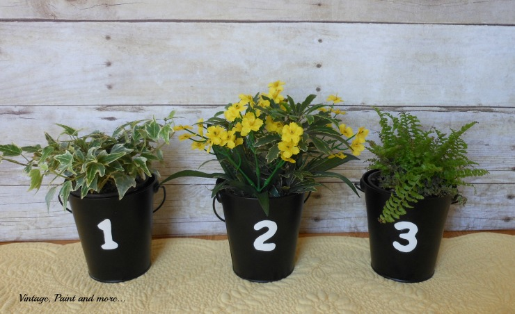 Vintage, Paint and more... dollar store buckets stenciled and then used as flower pots