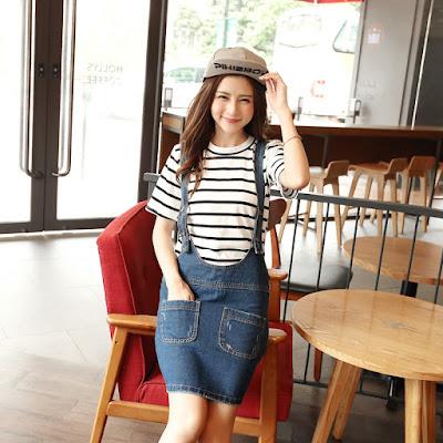 Model Rok Korea Style Denima Lucu Overall 2016