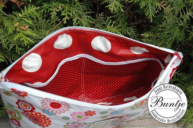 Kulturtasche Tasche Kosmetiktasche Wachstuch beschichtete Baumwolle nähen Buntje handmade