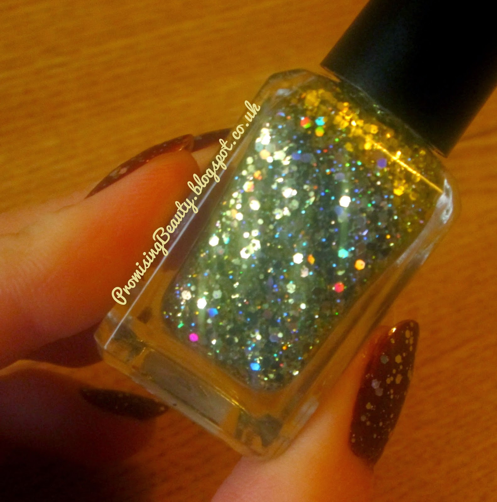 BArry M gold glitter top coat nail polish