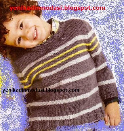 2013 Erkek Çocuk Kazak Yuvarlak Yaka Çizgili Model Yapılışı