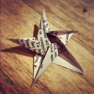 Newspaper print Five Point origami star