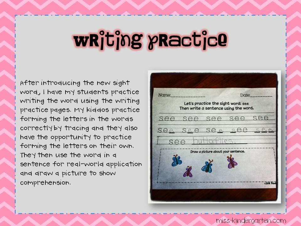 Sight Word Writing Practice Miss Kindergarten