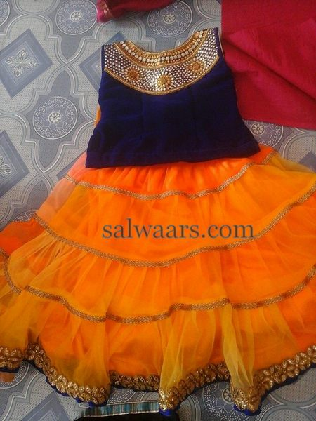 Heavy Pleats Lehenga in Orange
