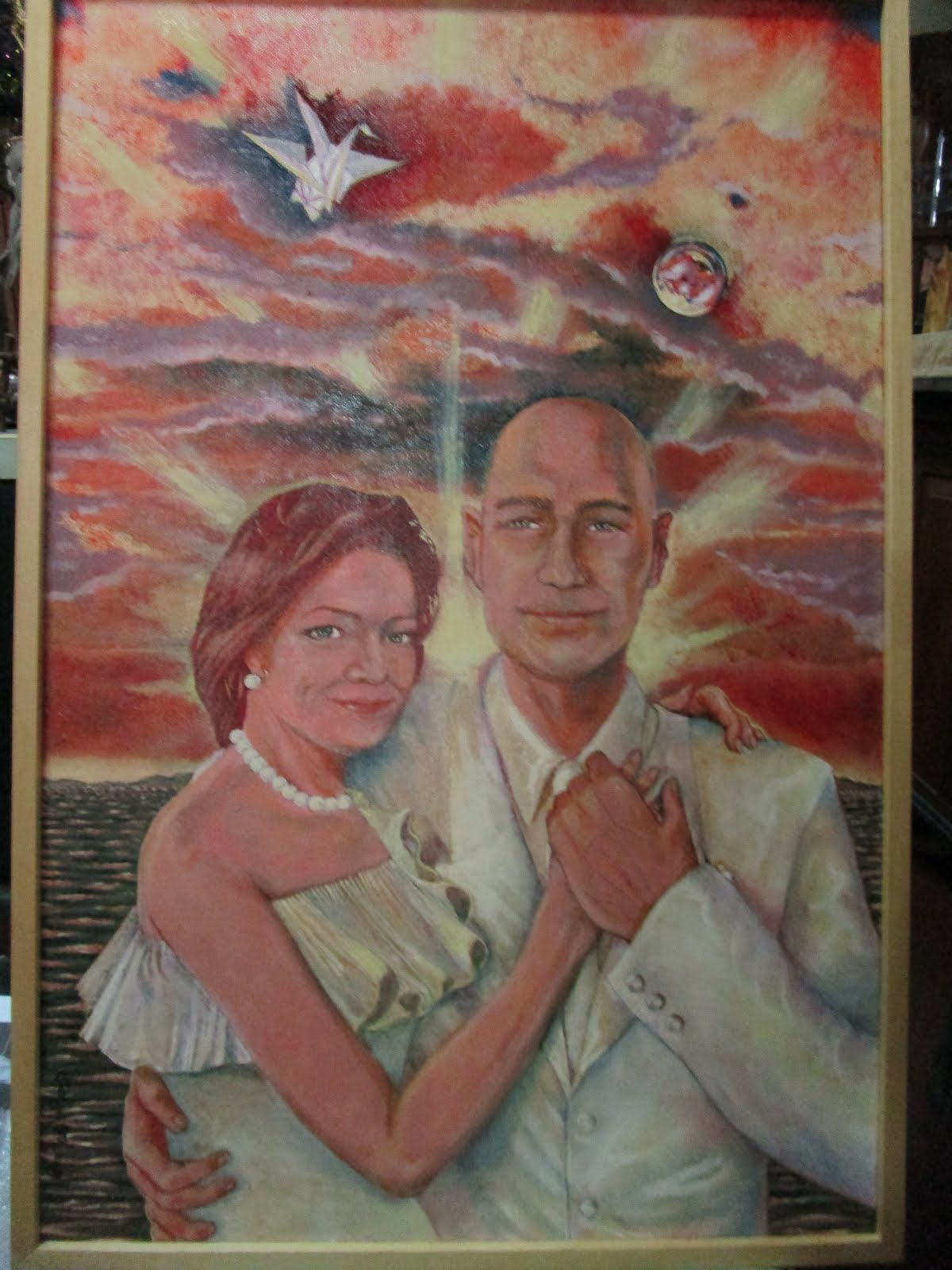 Manila Bay Sunset with Origami Crane (Portrait of Rich Herstek and Sarah C. Peck)