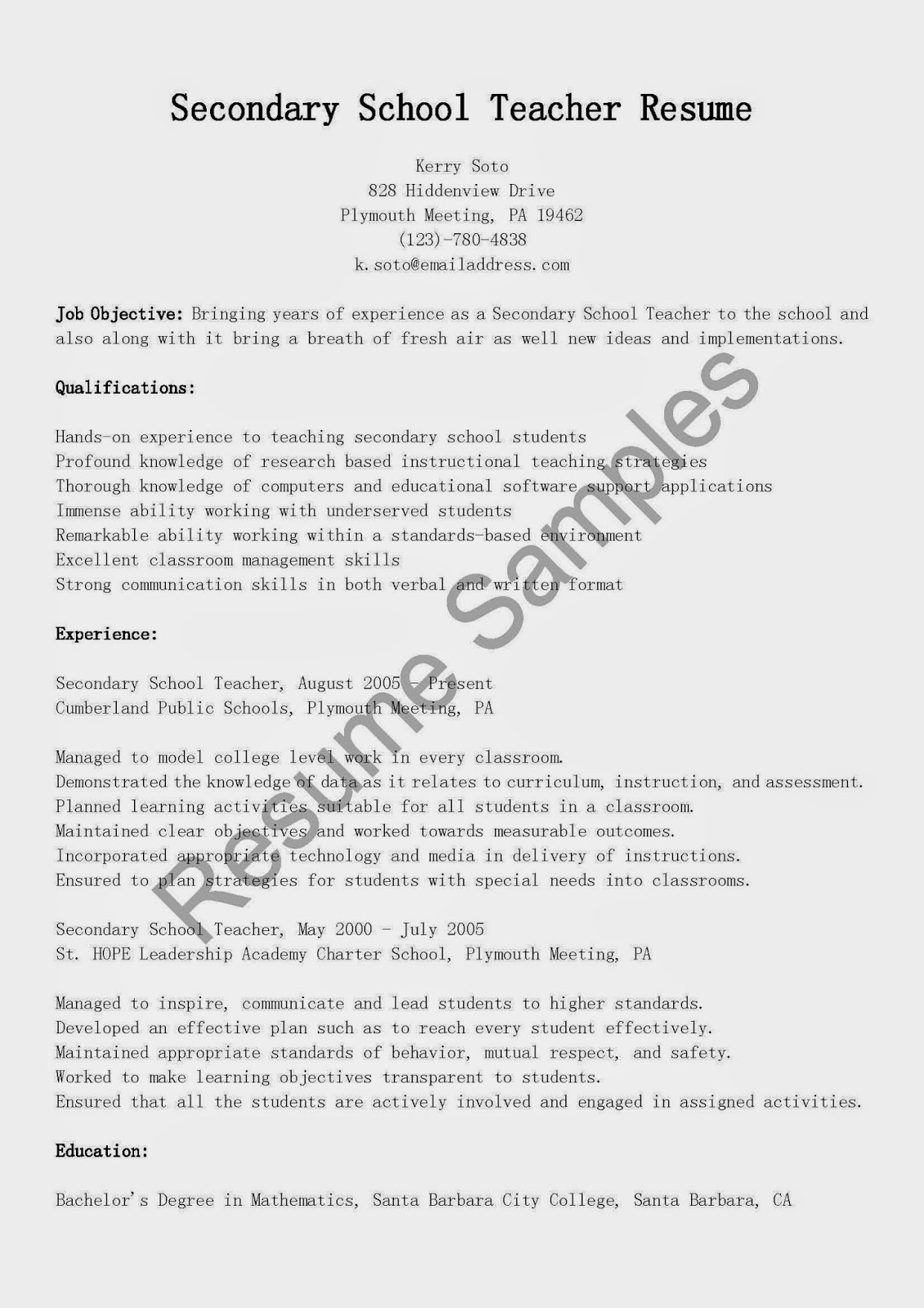 Secondary school teacher resume