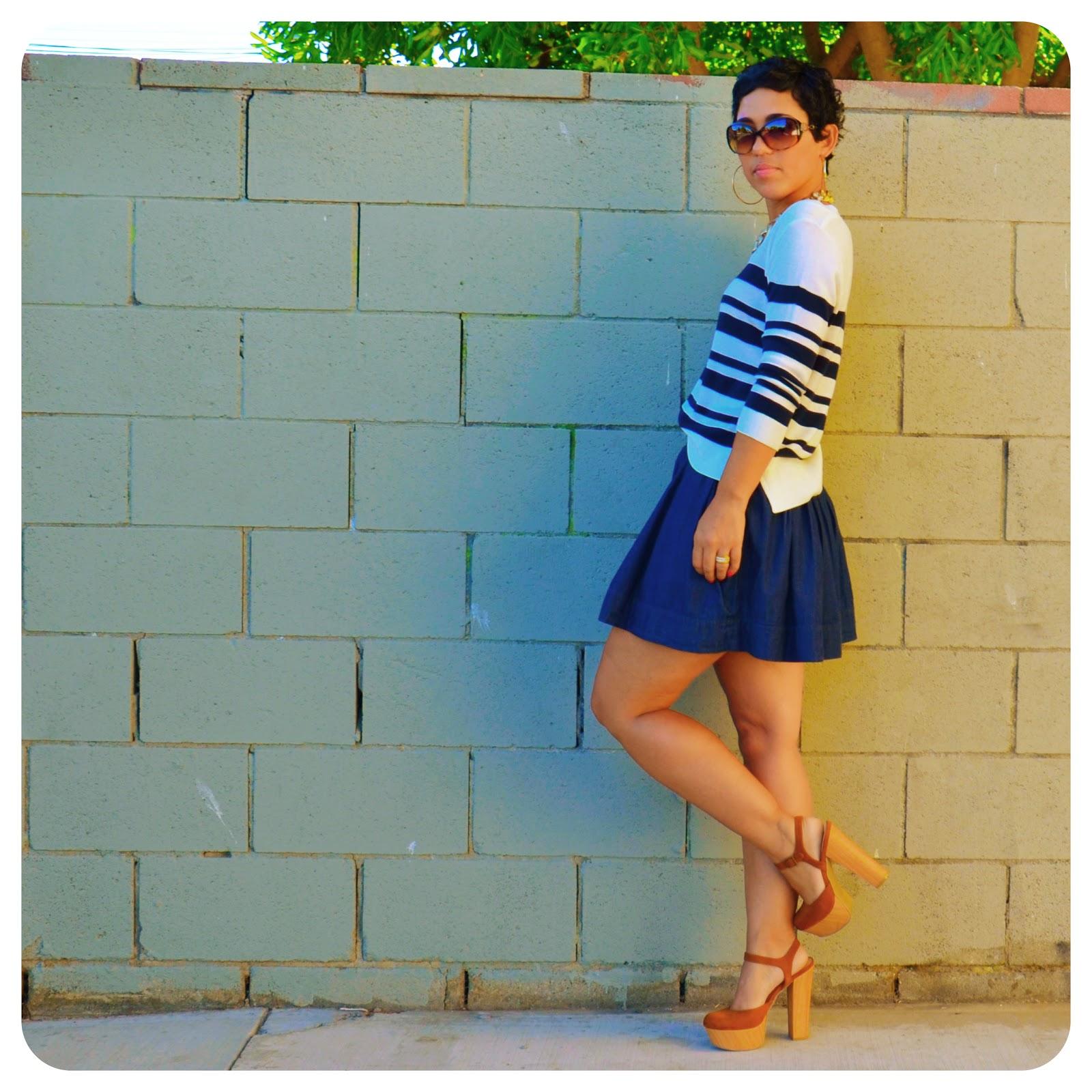 Ootd striped shirt denim skirt steve madden bag fashion