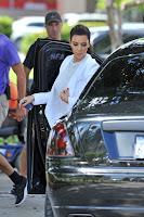 Kim Kardashian arriving at a gas station in Miami