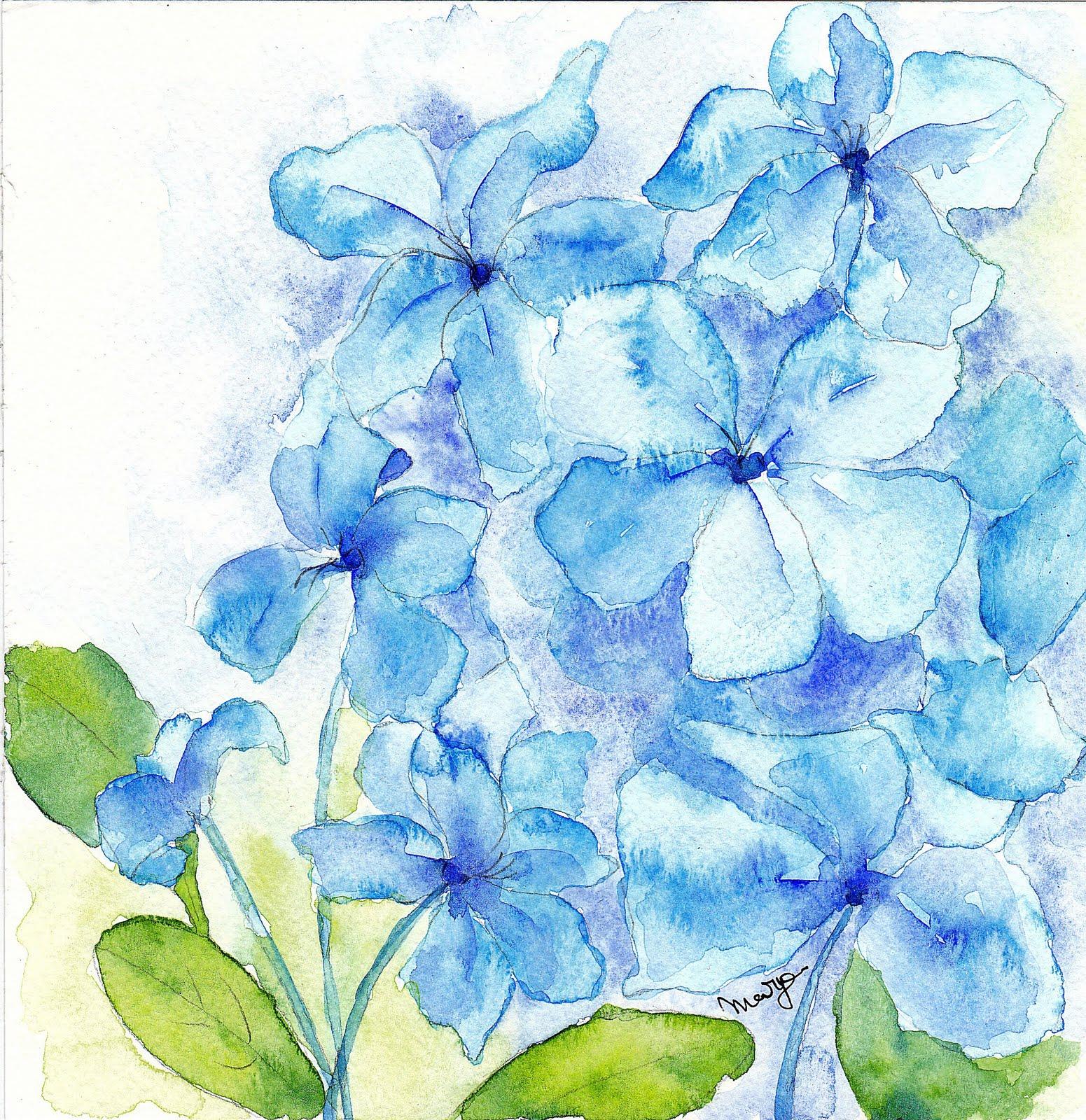 Watercoloreveryday Blue Flowers