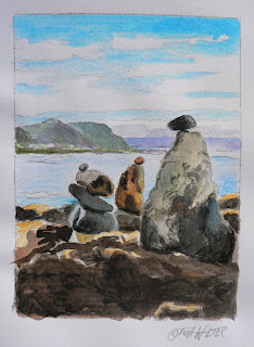 """Grandmother"" 4.5""x 3.3"" watercolor sketch on paper, © 2015 Tina M. Welter  Rock cairns near Island Bay, New Zealand."