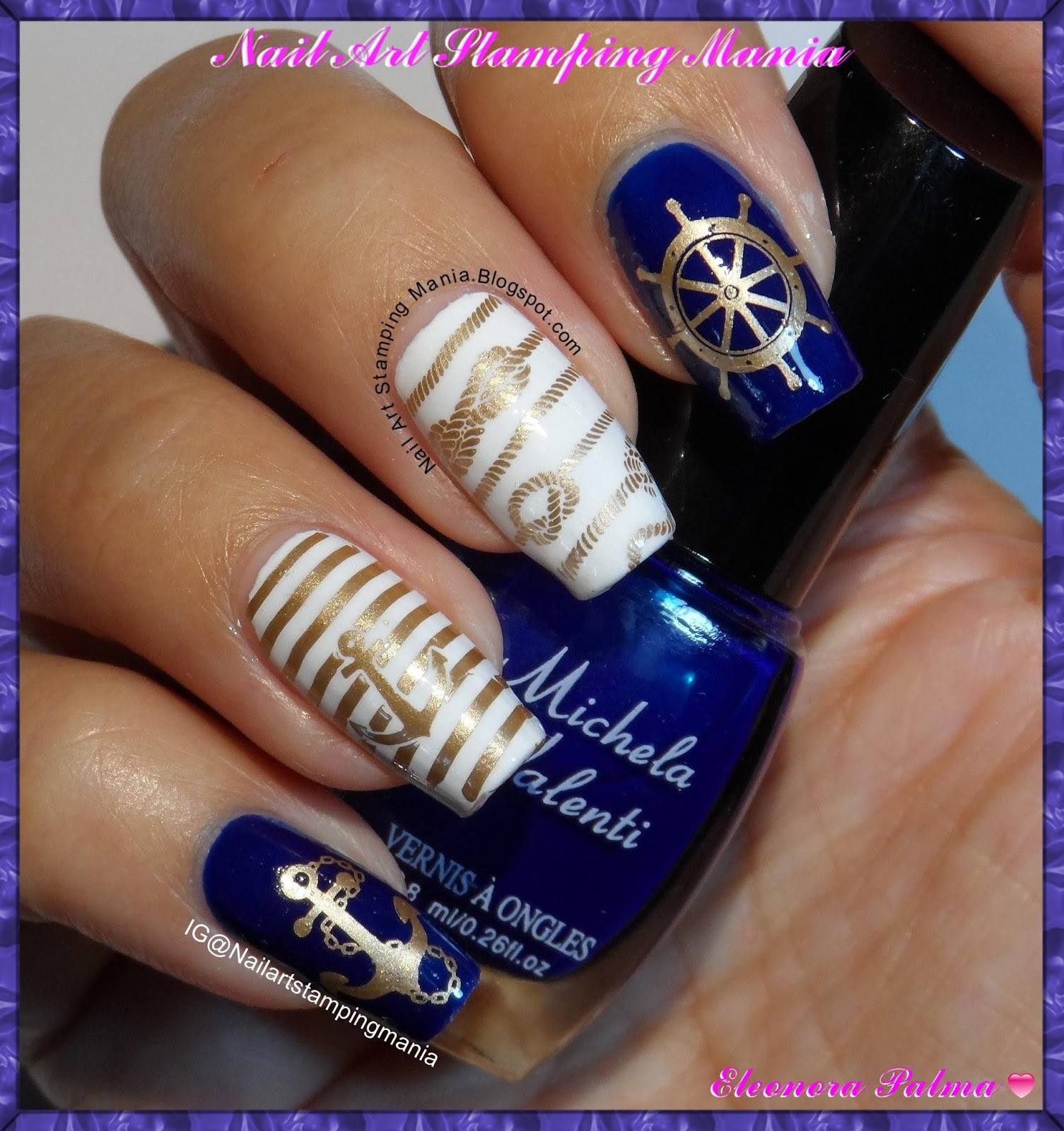Nail Art Stamping Mania: Navy Manicure With Winstonia Plate