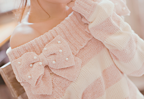 Pink Bow Off the Shoulder Sweater