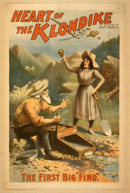 art, classic posters, free download, graphic design, movies, retro prints, theater, vintage, vintage posters, Heart of the Klondike, The First Big Find - Vintage Theater Poster