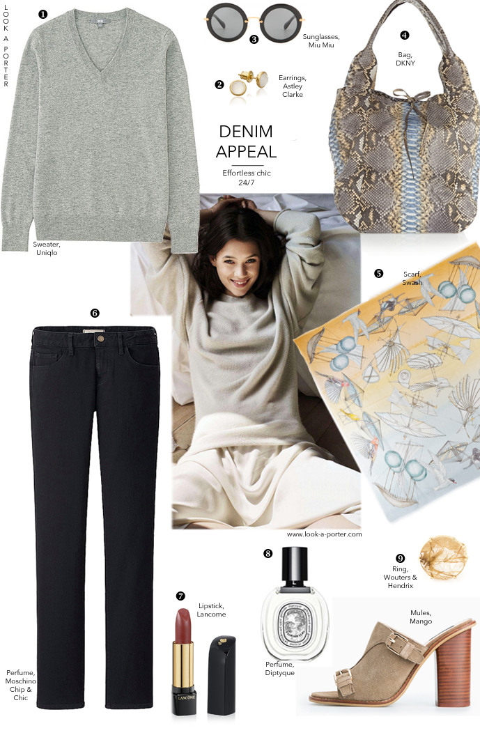 inspiration idea for weekends and days off / outfit inspiration / how to wear / style ideas / style inspiration / how to style jeans / uniqlo, astley clarke, wouters&hendrix, dkny, mango / via look-a-porter.com style and fashion blog