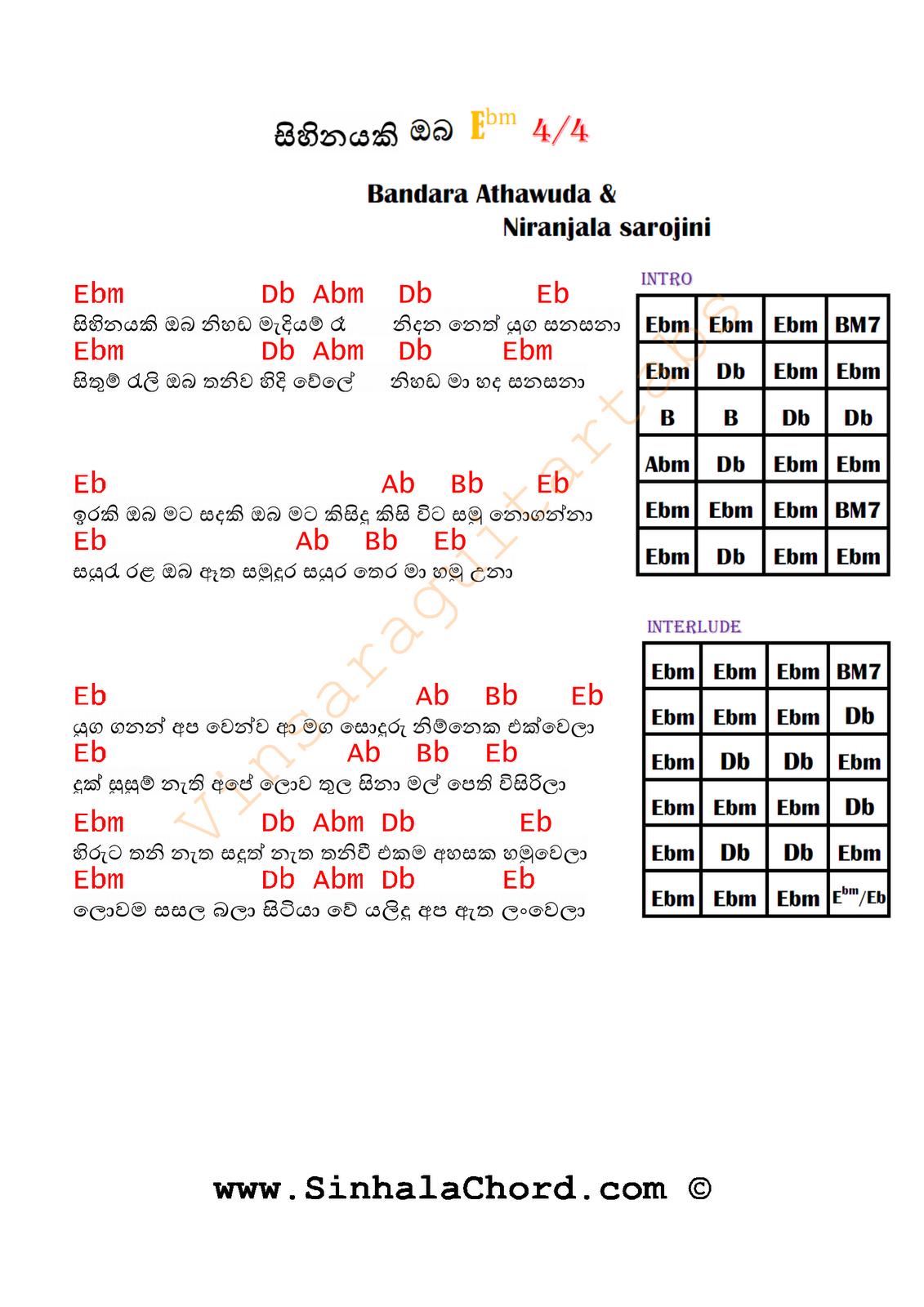 Sihinayaki Oba Nihada Madiyam Ra Guitar Chords : Sinhala Guitar Chords:Sinhala Songs Chords ...