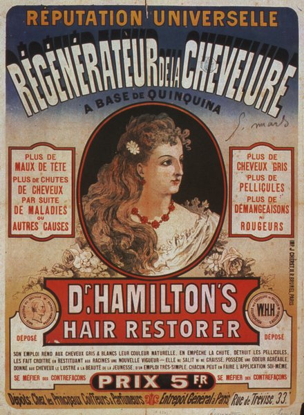 advertising, classic posters, free download, french poster, graphic design, retro prints, vintage, vintage posters, Dr. Hamilton's Hair Restorer - Vintage Advertising Poster