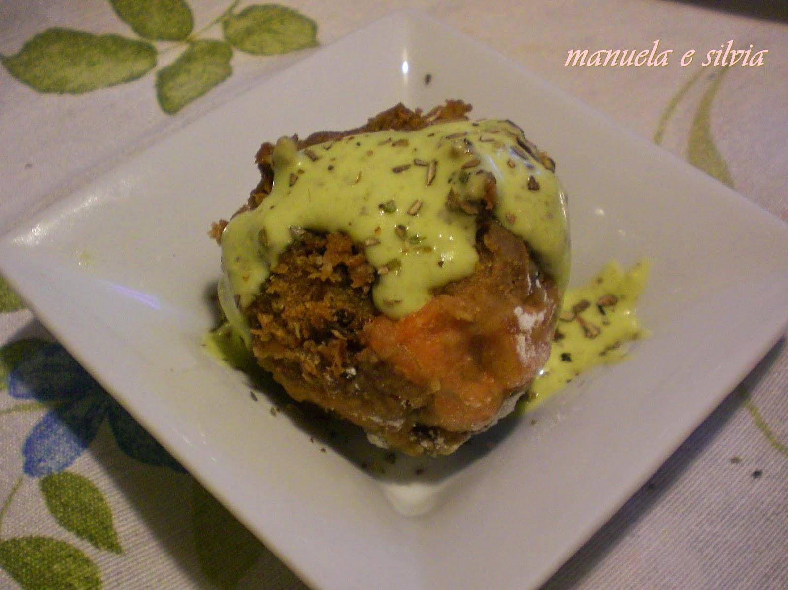 canederli di segale e salmone affumicato con crema di panna al pesto di basilico