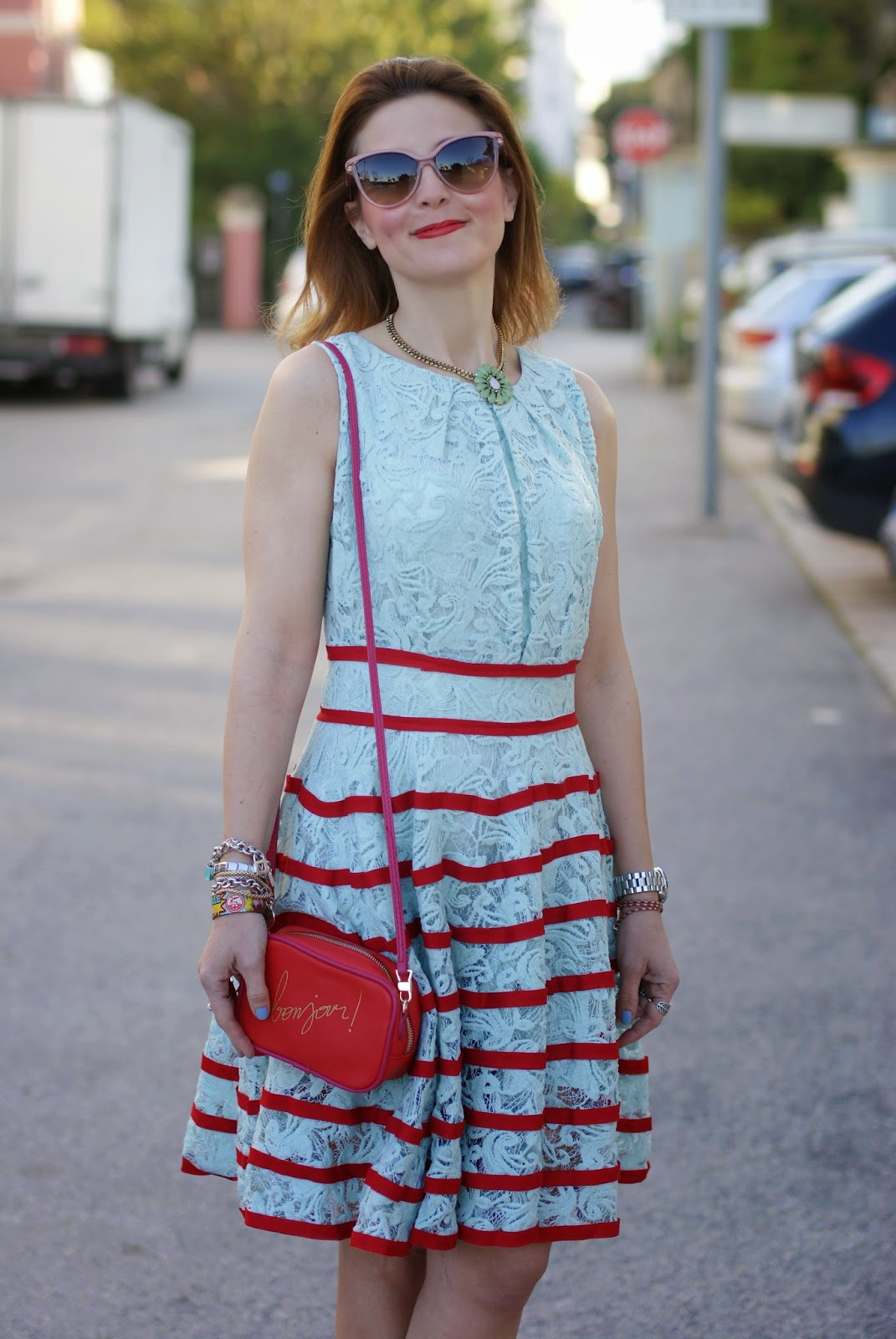 collana sodini verde, chicwish lace dress, bonjour bag, Fashion and cookies, fashion blogger