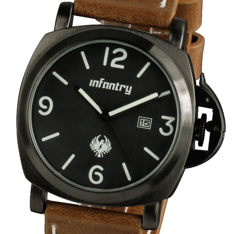 INFANTRY MENS MECHANICAL /QUARTZ ARMY SPORTS 20-24CM BLACK /BROWN LEATHER WATCH