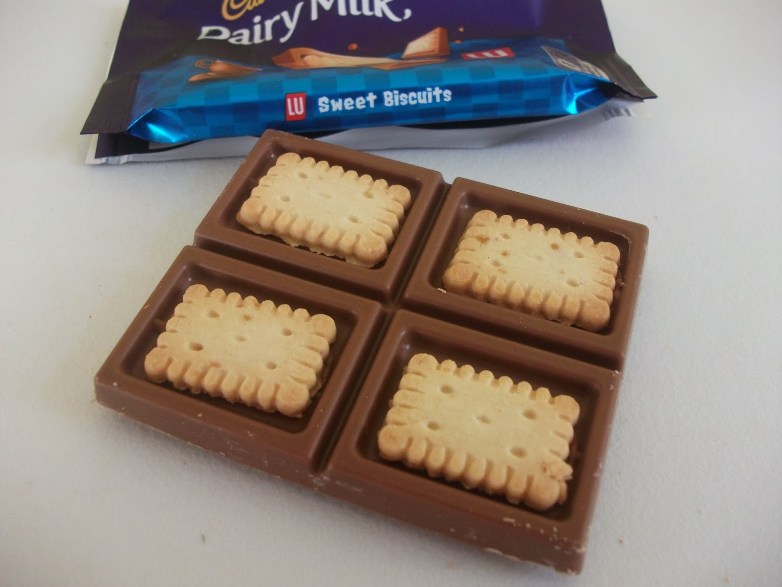 cadbury dairy milk with lu sweet biscuits