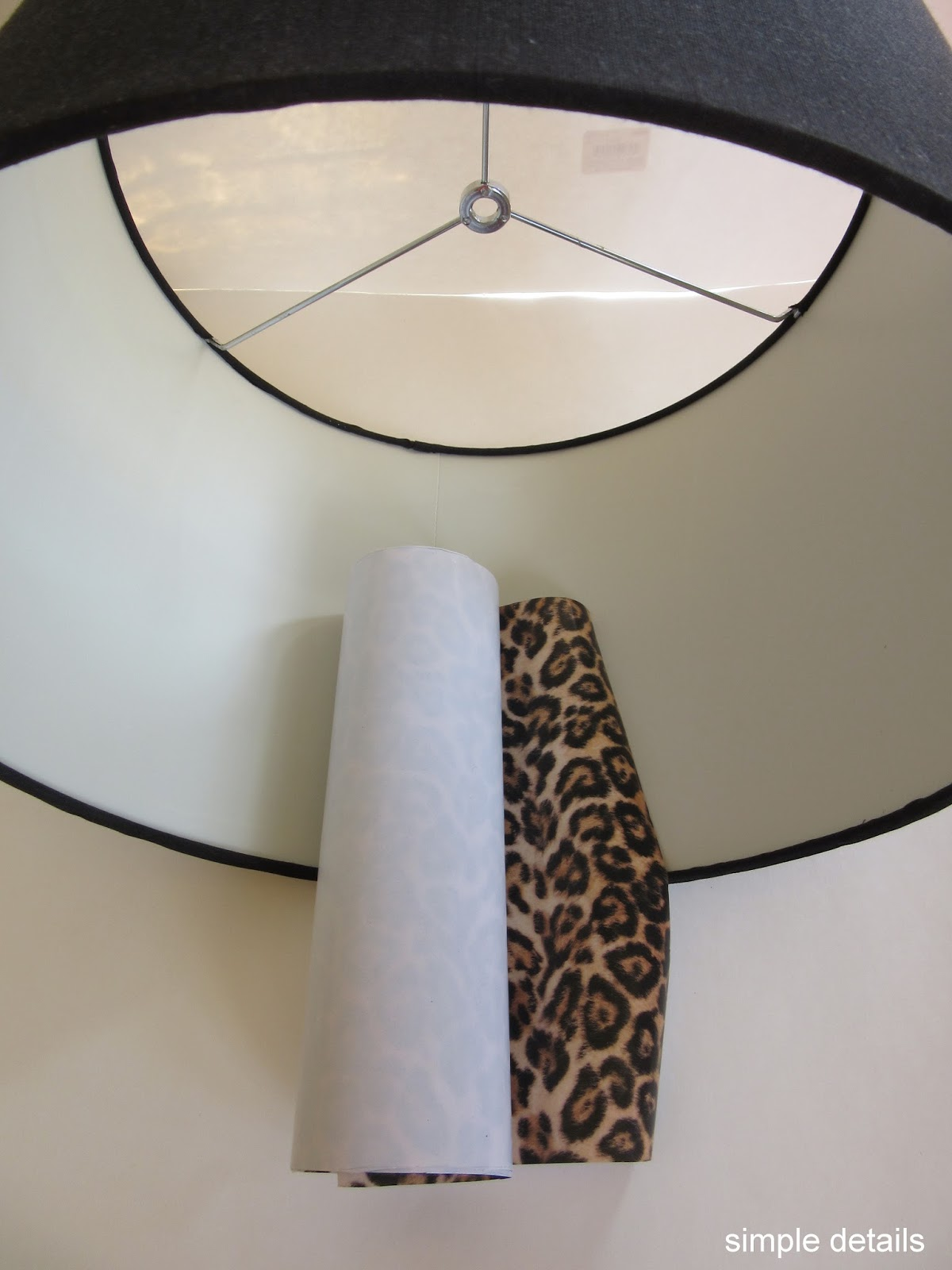 Simple details diy lamp shade with leopard print lining for Floor lamp with leopard shade
