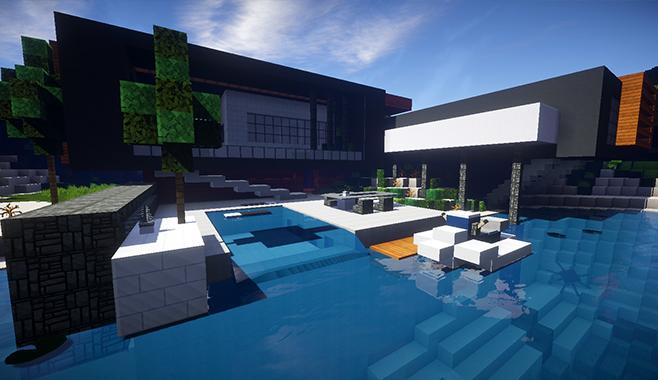 Minecraft casa moderna skybuild constru es de minecraft for Casa moderna 8