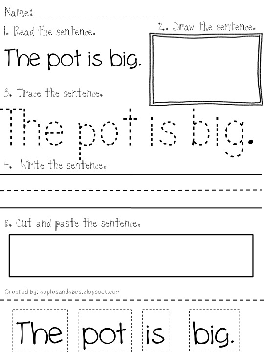 Reading and Printing Simple Sentences Pack 2 and 3 Apples and ABCs – Kindergarten Writing Sentences Worksheets