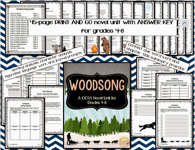 http://www.teacherspayteachers.com/Product/Woodsong-CCSS-Novel-Unit-for-Grades-4-8-1496650