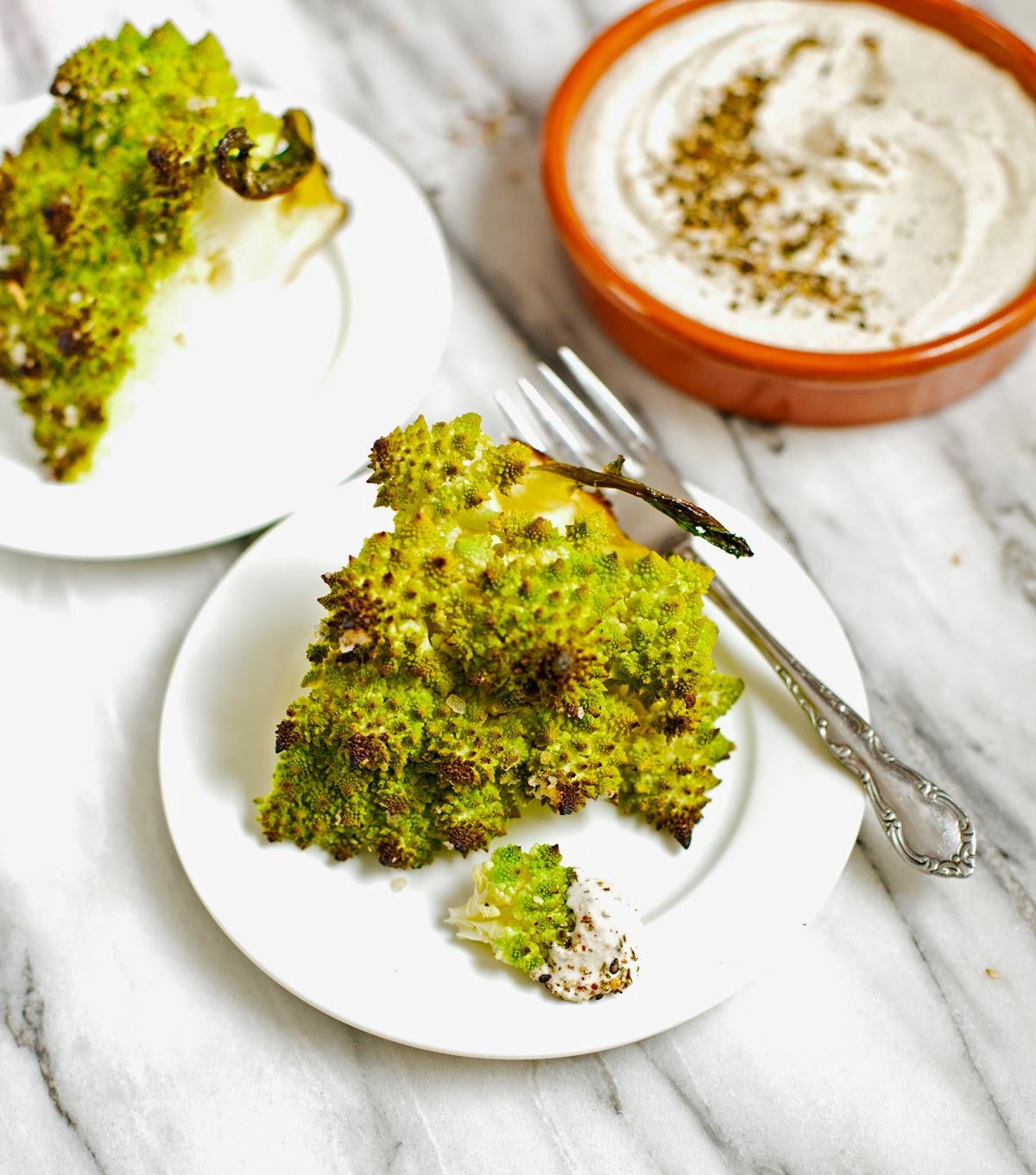 Roasted Romanesco with Za'atar Yogurt Sauce | acalculatedwhisk.com