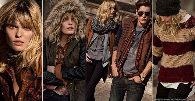 Moda invierno 2015 para hombre y mujer. Camperas, sweaters y jeansTannery invierno 2015.