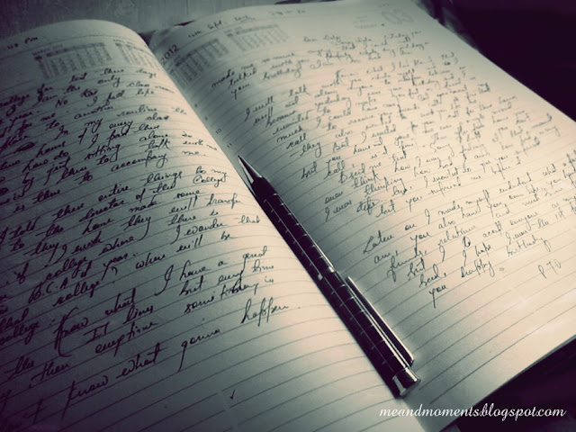 my personal diary, cursive handwriting, a peek of my life