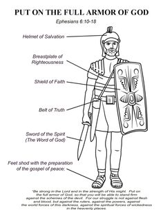 Word up armor of god week six the helmet of salvation for God is my shield coloring page