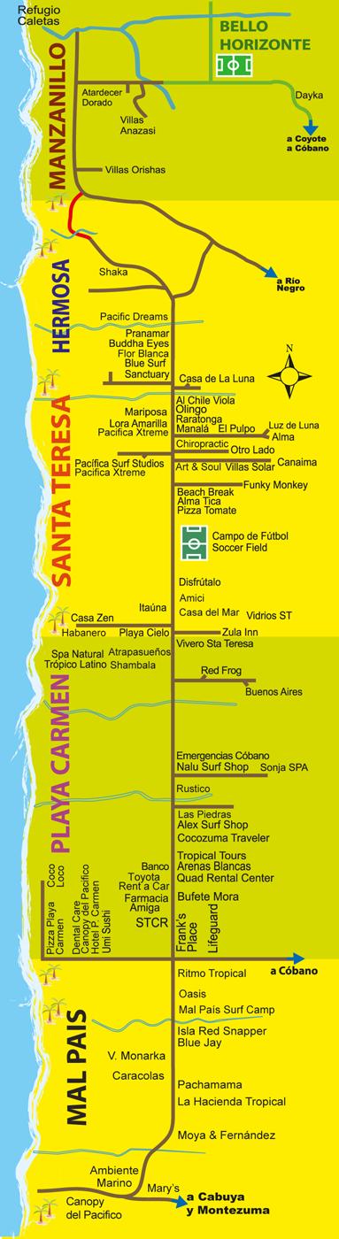 Mapa Playa Manzanillo de Santa Teresa Costa Rica