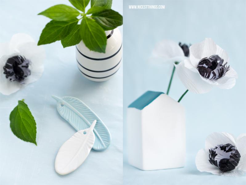 Bloomingville Vase Haus Hausform Papierblumen basteln Blumen basteln DIY Anemonen aus Krepppapier